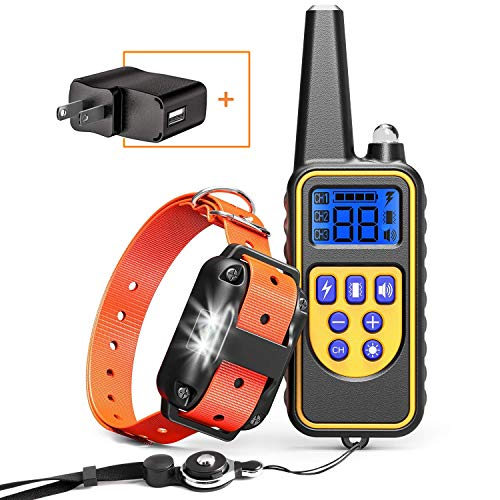 Cambond Dog Shock Collar with Remote, Waterproof Dog Training Collar 2600ft Control Range Rechargeable Shock Collar for…