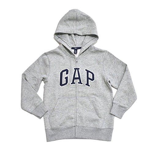 (GAP Boys Fleece Arch Logo Zip Up Hoodie (Gray, Large))