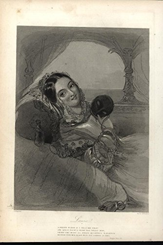 Laura Venetian Beauty Masquerade Mask c.1850 antique steel engraved print