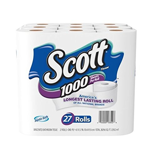 Scott 1000 Bath Tissue One-Ply 1000 Sheet Rolls (27 Count) 27 Count