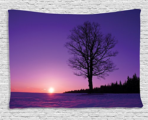 Ambesonne Farm House Decor, Lonely Oak Tree at Sunset Snowy Field Wintertime Nature Landscape Wilderness Scene, Wall Hanging for Bedroom Living Room Dorm, 60 W X 40 L Inches, Purple and Black