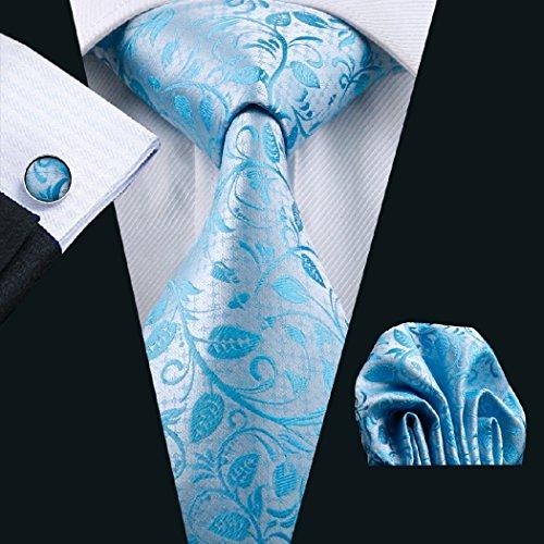 Tie Hanky Tie Necktie Men's Cufflinks Silk Men's Woven Set 1172 CAOFENVOO Hanky Necktie Set Blue Cufflinks N Jacquard 5Rp6FU