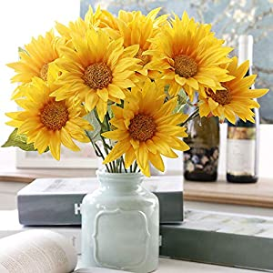 Artificial & Dried Flowers - 1 Bouquet 5 Heads Yellow Silk Sunflower Flower Diy Arrangement Home Decorationwedding Favors And - Dried Flowers Artificial 16