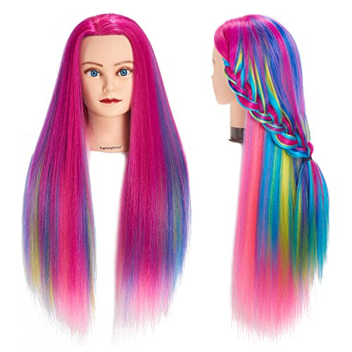 "Traininghead 26""-28"" Salon Mannequin Head Hair Styling Training Head Manikin Cosmetology Doll Head Synthetic Fiber Hair Hairdressing Training Model With Free Clamp (Colorful)"