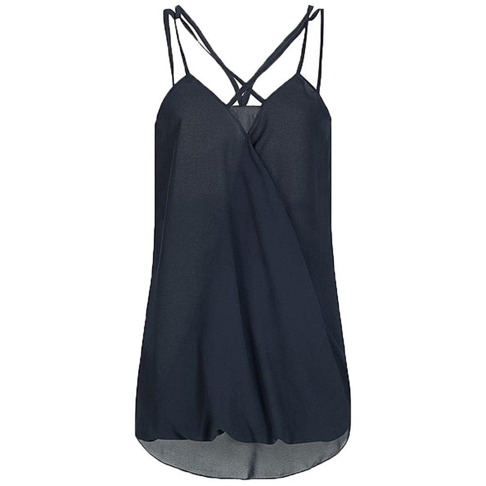 Dunacifa Women Tank Top Fashion Women Summer Wrap Cross Sleeveless Chiffon Casual Sling Tank Top Blouses Blue