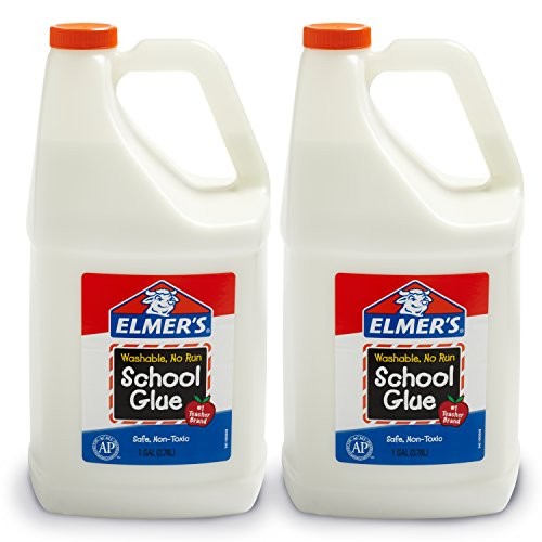 Elmer's Liquid School Glue, Great For Making Slime, White, Washable, 1 Gallon, 2 Count