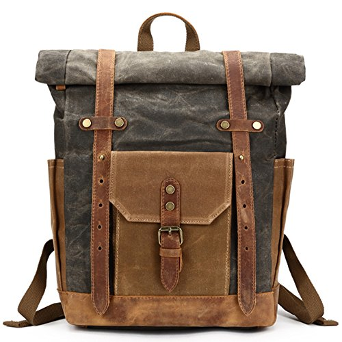Mwatcher Waterproof Waxed Canvas Leather Rucksack College Weekend Travel Rucksack 15in laptops Backpack (A-Gray green)