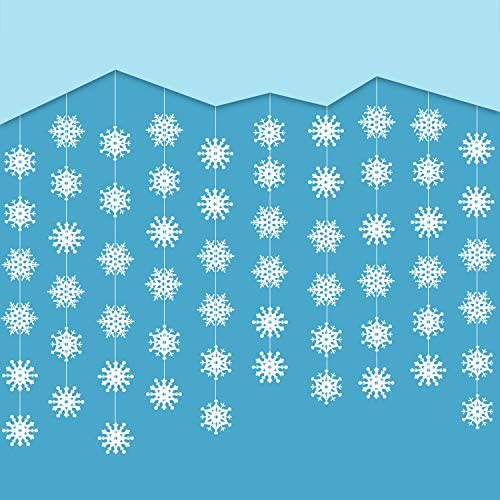 Amazon.com: Jovitec 10 cuerdas de copo de nieve colgantes ...