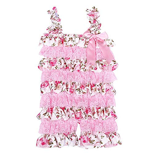 AutumnFall 0-24M Newborn Infant Baby Girls Romper Ruffle Lace Cake Floral Jumpsuit Outfits Party Elegant Romper (Age:0-6 Months, Pink)