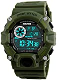 Fanmis Men's Digital 50M Waterproof Electronic Sport Watch Rubber Band Army Military 24H Time LED Light 164FT Water Resistant Calendar Date Day Watches Green