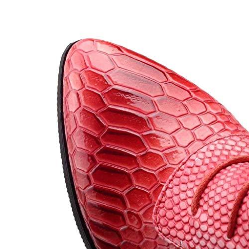 Marron Mode Bottines Rouge Bottes Courtes Serpent Femme Large Pointu Trydoit Bout La À Talons Chaussures Mollet D'hiver 1gpAxpOnw