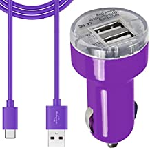 Asus Zenpad Z8 Car ChargerDUAL USB Slot Adaptor With 1 x Type-C Charging USB-C Data Cable Cord [ Purple]
