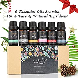 Essential Oils Set Luckyfine Premium Aromatherapy Essential Oil Kit, Pure Plant Extract Compound Oils 6 Kind of Effects…