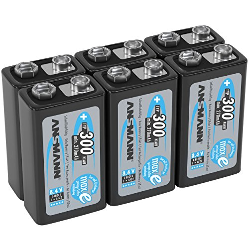 ANSMANN 9V Rechargeable Batteries 300mAh pre-charged Low Self-Discharge (LSD) NiMH 9 Volt Battery 9V Battery (6-Pack)