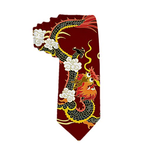 Handmade Ties For Men:Skinny Woven Slim Tie Mens Ties-Thik Necktie Chinese Dragon Red Neckties For Every Outfit