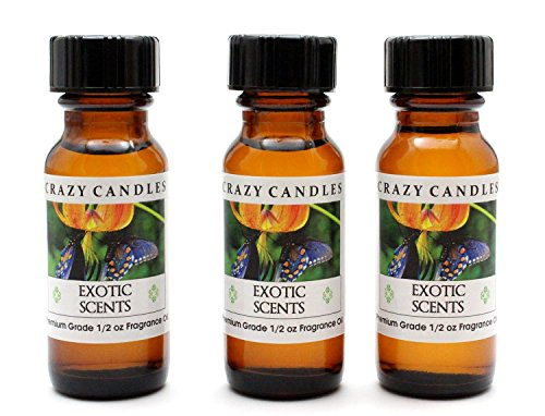 Exotic Scents BE (Blend of Fruits, Mango, Wild Strawberries, Ruby Red Grapefruit. Freesia Petals, Watery Muguet, Linden Blossom with Warm Amber Musk and Tonka Bean) 3 Bottles 1/2 Fl Oz Each (15ml) Premium Grade Scented Fragrance Oil By Crazy Candles