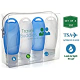 TSA Approved Silicone Travel Bottles Kit 3oz Set of 4 - Leak Proof BPA Free Toiletries Containers w/ Clear Toiletry Bag