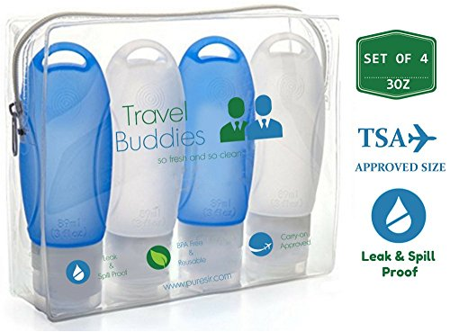 TSA Approved Silicone Travel Bottles Kit 3oz Set of 4 - Leak Proof BPA Free Toiletries Containers w/ Clear Toiletry - Store Best Location Buy Hours