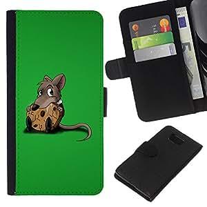 Planetar® Modelo colorido cuero carpeta tirón caso cubierta piel Holster Funda protección Para Samsung ALPHA / SM-G850 / S801 ( Cute Rat & Cookie )