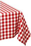 DII 100% Cotton, Machine Washable, Dinner, Summer & Picnic Tablecloth 60 x 104', Tango Red Check, Seats 8 to 10 People