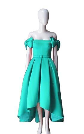 Dydsz Womens Off Shoulder Bows Long Evening Prom Dresses Party Plus Size 2017 D109 Aqua 2