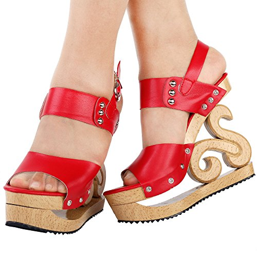 Stud Sandals Wooden Sexy Look STORY Clogs Platform SHOW Red Wedges Slingback LF30831 HCtqU