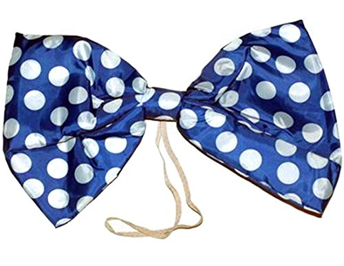 Star Power Large Clown Polka Dot Oversized Bow Tie, Blue White, One-Size -