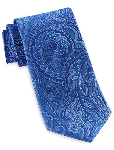 Geoffrey Beene Big and Tall Glam Paisley Silk Tie (Blue)