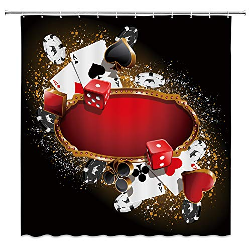 BCNEW Casino Shower Curtain Decor Red Dice Gambling House Poker Card Spade Heart Diamond Club Jeton Jetton Ace Creative Bathroom Curtain Polyester Fabric Machine Washable with Hooks 70 x 70 Inches