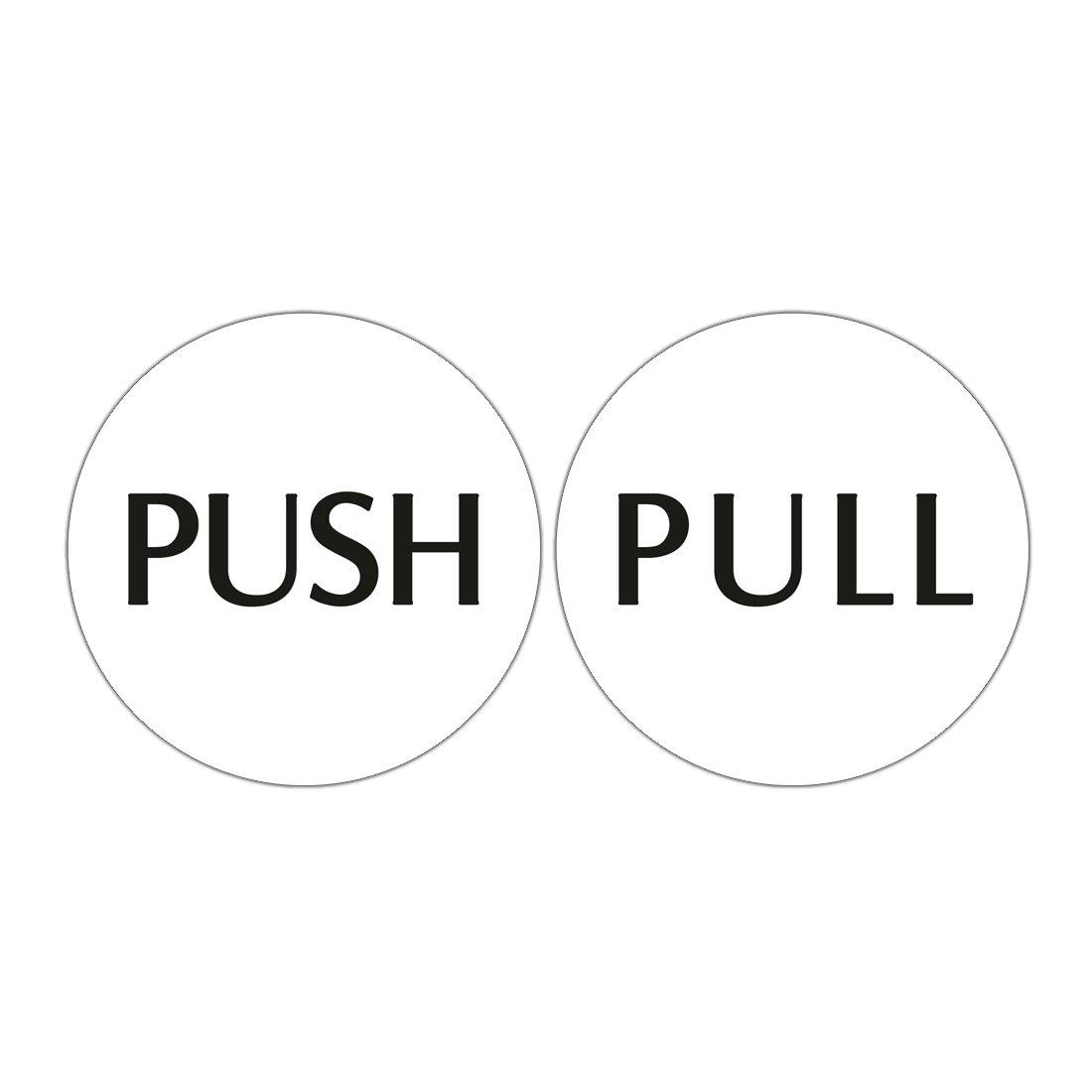 """Cartelli per porta con scritte in lingua inglese """"push"""" e """"pull"""", dimensioni: 10,2x 10,2cm, per decorare uffici e negozi White 2x 10 2cm Hualiang"""