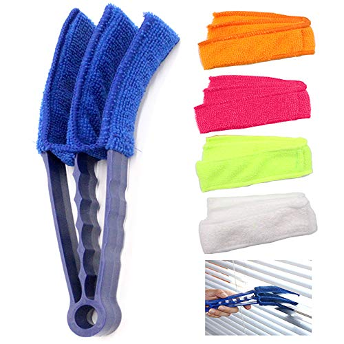 CISAY Window Blind Cleaner,Duster Brush With 1 Clamps and 5 Removable Sleeves-Blind Cleaner Tools For Blinds, Shutters, Shades, Air Conditioner Vent Covers, etc.-Quick, Easy, Washable, Reusable - Firm (Microfiber Blind Cleaner)
