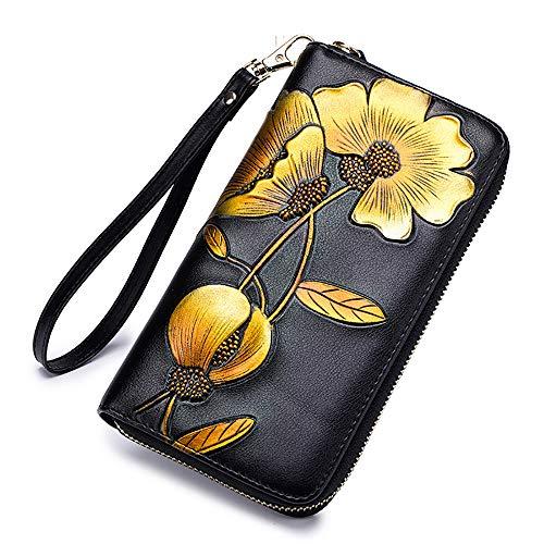 Lady Wallets, Leather Hand Painted Flowers Purse RFID Wristlet Wallet For Women (Women Wallets Tassel Red)