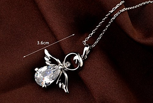 white Gold plated happy angel with clear crystal pendant necklace for child