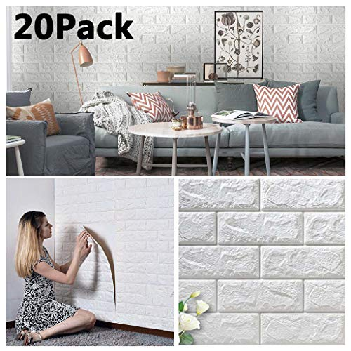 20 Pack Faux Foam Bricks 3D Wall Panels Peel and Stick Wallpaper for Living Room Bedroom Background Wall Decoration (White, Cover 113.8 sq feet)