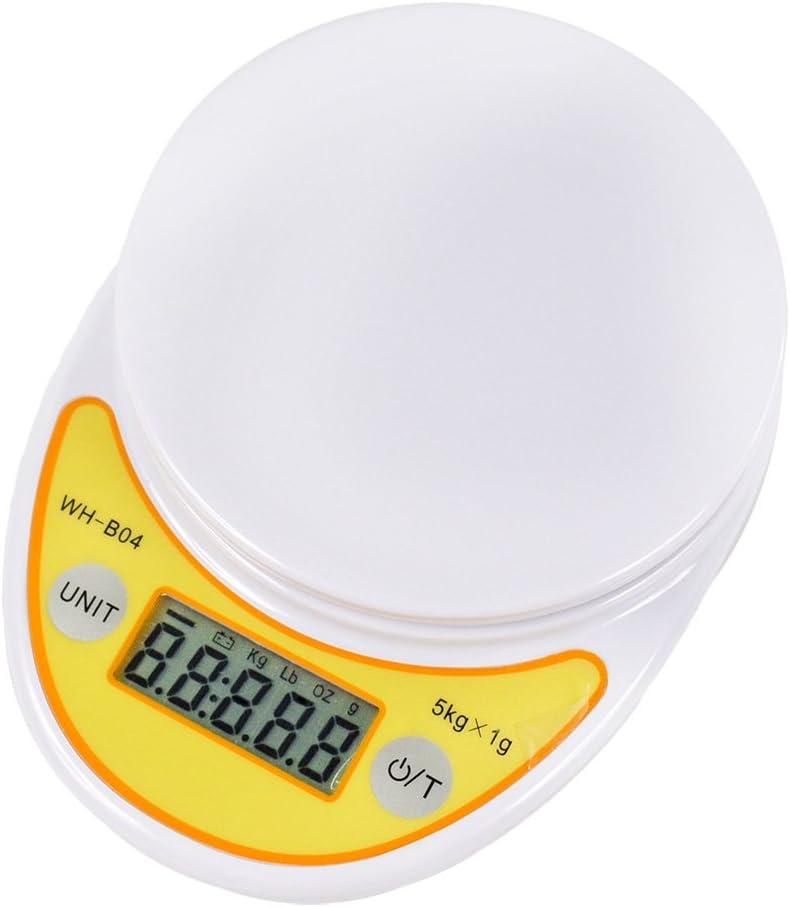 Szaerfa Balanza de cocina pequeña y precisa Pesaje de comida digital Balanzas de pesaje electrónica 5000g con función de tara para cocinar en la cocina casera (Amarillo)