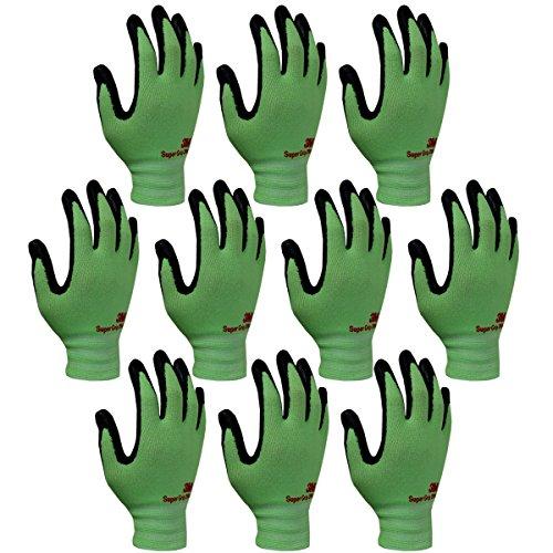 3M Super Grip 200 All Day Comfort Nitrile Foam Coated Work Gloves -10 Pairs (Medium, Green)