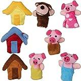 Lot de 8pcs Marionnettes A Doigts Comptine Conte de Fee les Trois Petits Cochons