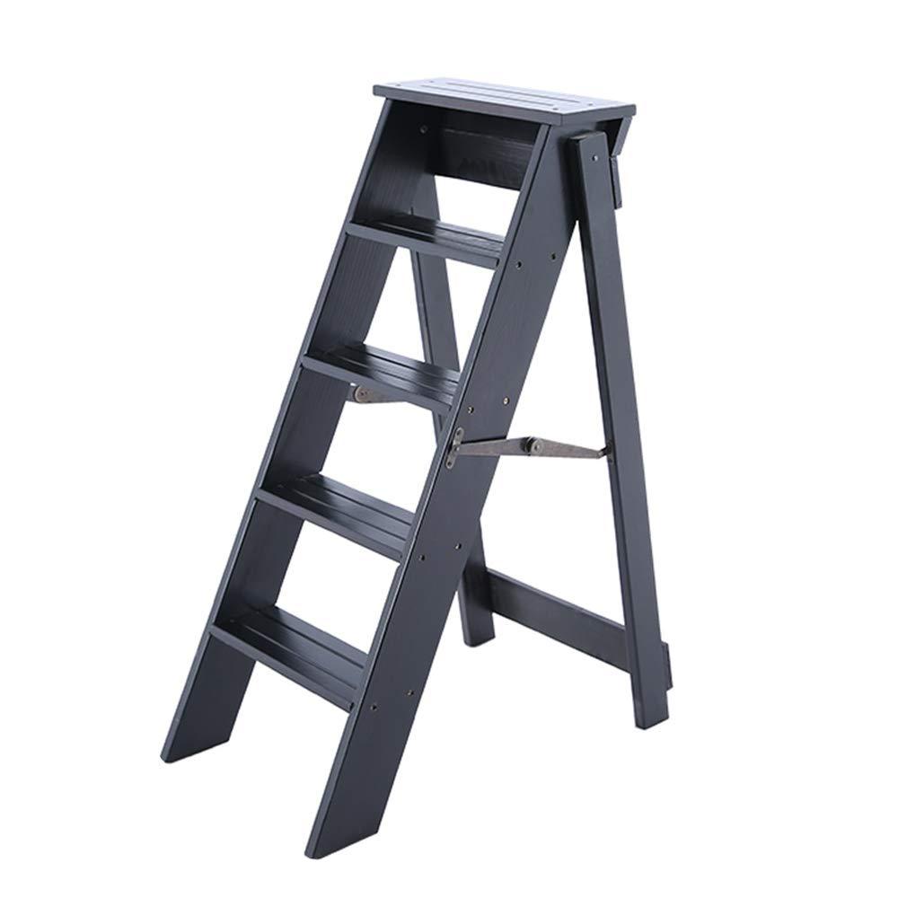 Wooden Step Ladder Solid Wooden Ladder Multifunction Foldable Shelving Ladder Home Library 5 Steps 150kg Capacity (Black) Max Load 150kg by DXZ-Ladder