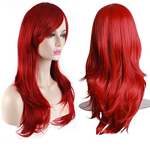 [AKStore Women's Heat Resistant 28-Inch 70cm Long Curly Hair Wig with Wig Cap, Red] (Long Red Wigs)