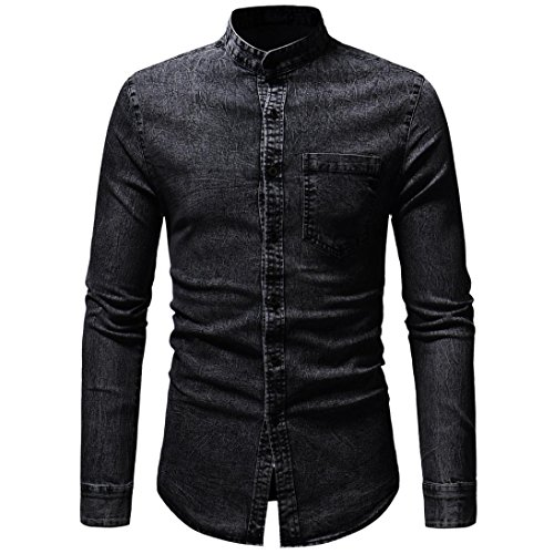 Pervobs Long Sleeve Shirts, Big Promotion! Men's Autumn Vintage Distressed Solid Denim Long Sleeve Button Down Shirt Top Blouse (M, Black) by Pervobs Mens Long Sleeve Shirts