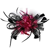 2 Tone Kentucky Derby Fascinators Sinamay Church Tea Party Bridal Hat Mesh Cocktail Headwear Feather Hats Blk_Fuschia