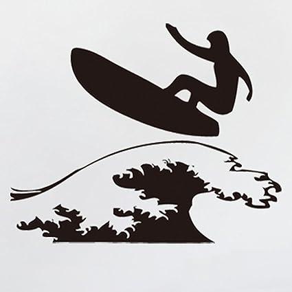 Fangeplus R Diy Removable Surf Surfing Boy Surfboard Ocean Sea Waves Silhouette Art Mural Vinyl Waterproof Wall Stickers Kid Room Decor Nursery Decal