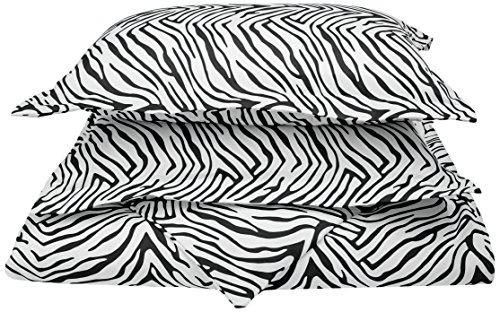 Impressions 1800 Series 100% Brushed Microfiber, Deep Pocket, Wrinkle Resistant 3-Piece King/California King Duvet Cover Set, Animal Print, Zebra
