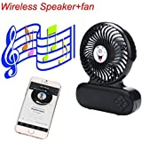 Portable Fan,GOODCULLER Portable Wireless Bluetooth Speakers Mini Desk Fan Cooling Tri Gear Adjustment for Travel Home and Office (Black)