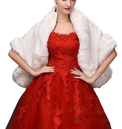 Womens White/Black Bridal Wedding Faux Fur Shawls Stole Wrap Scarf