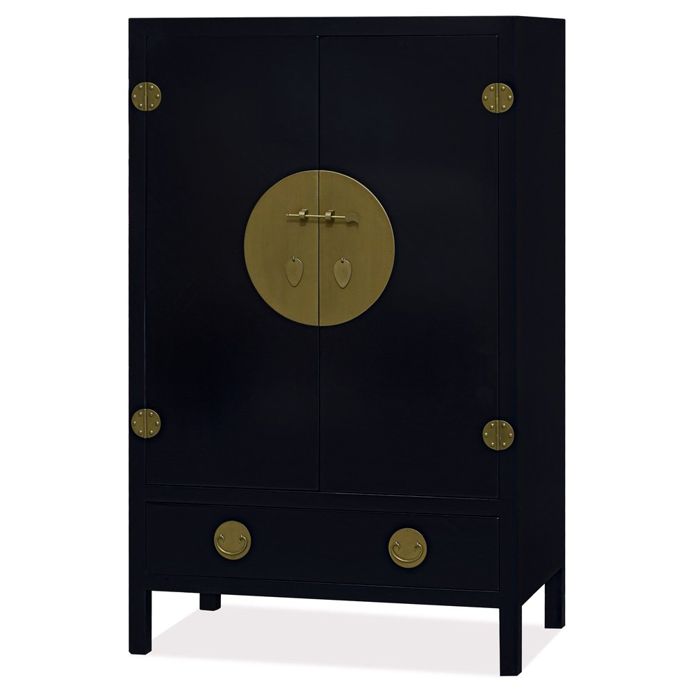 China Furniture Online Elmwood TV Armoire Ming Style Cabinet Black by ChinaFurnitureOnline