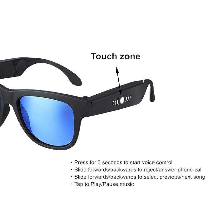 GWJ Bone Conduction Glasses, Auriculares Deportivos Gafas De Sol Polarizadas Música Estéreo Auriculares Inalámbricos Bluetooth Con Micrófono Y Diseño ...