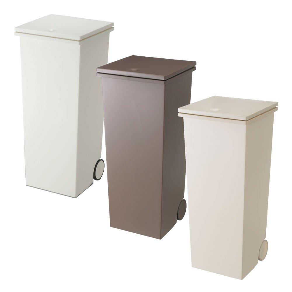 岩谷マテリアル kcud スクエア プッシュペール 3個セット ゴミ箱 ごみ箱 ダストボックス おしゃれ ふた付き クード (Wホワイト×オールブラウン×オールベージュ) B0742BZHWL Wホワイト×オールブラウン×オールベージュ Wホワイト×オールブラウン×オールベージュ