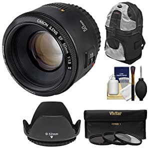 Canon EF 50mm f/1.8 II Lens with Backpack + 3 UV/CPL/ND8 Filters + Hood + Kit for EOS 6D, 70D, 5D Mark II III, Rebel T3, T3i, T4i, T5, T5i, SL1 Camera