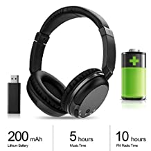 TV Wireless RF Headphones 3.5mm Wired Earphones Hifi Stereo Rechargeable Headset with FM Radio for MP3 MP4 PC TV Audio